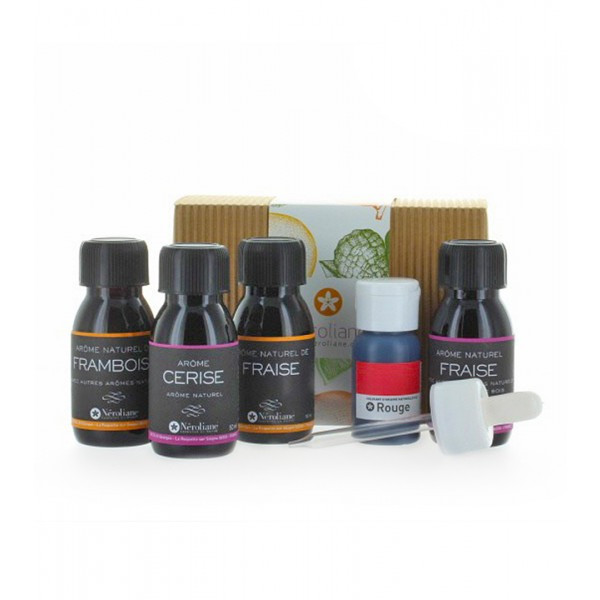 Coffret 4 aromes naturels fruits rouges 50 ml, colorant rouge 60 ml + 1 pipette offerte