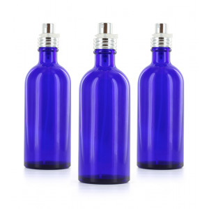Lot de 3 flacons verre bleu 100ml
